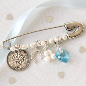 Something Old, New, Borrowed & Blue Bridal Charm Pin