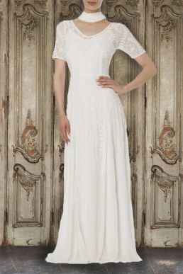 Raishma Lace Georgette Gown White