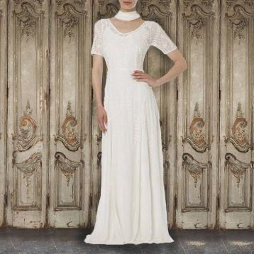 Raishma Lace Georgette Gown White
