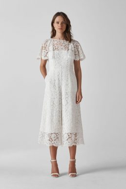Whistles Victoria Lace Wedding Jumpsuit Ivory