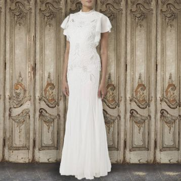Raishma Embellished Frill Gown White