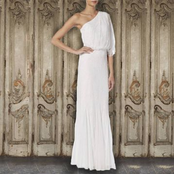 Raishma One Shoulder Beaded Bridal Gown Ivory