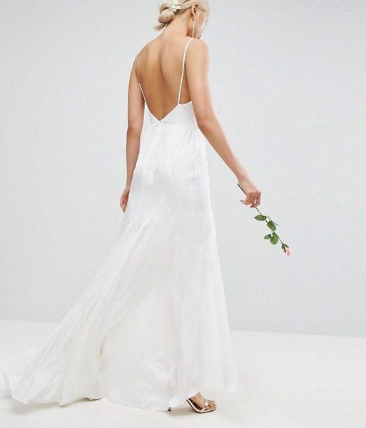 ASOS BRIDAL Cami Maxi Dress with Panelled Seam Details Cream ...
