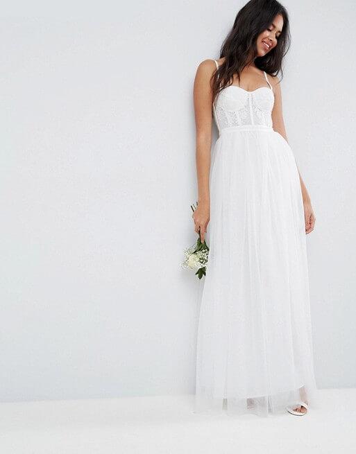 9b55a88c30b ASOS BRIDAL Corset Detail Maxi Dress with Tulle Skirt