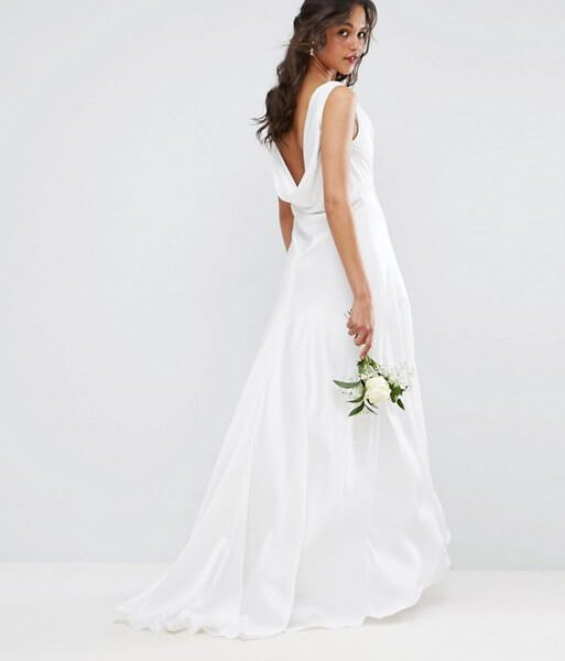 ASOS BRIDAL Soft Drape Front Maxi Dress Cream | myonewedding.co.uk