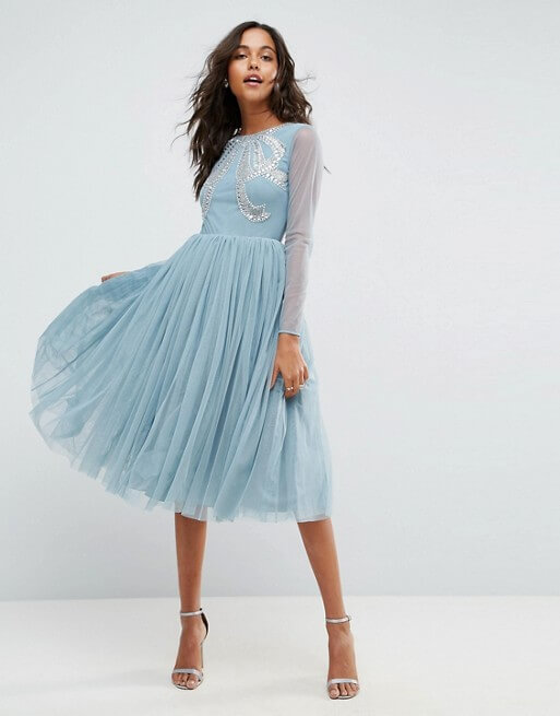 ASOS Embellished Bow Tulle Midi Dress dusty blue | myonewedding.co.uk