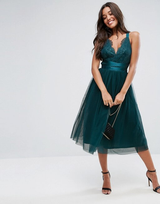 ASOS PREMIUM Lace Top Tulle Midi Prom Dress with Ribbon Ties green ...