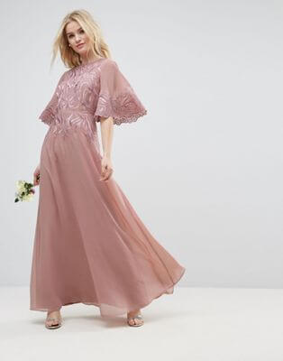 order reliable quality choose best ASOS WEDDING Lace Applique Flutter Sleeve Maxi Dress Pink