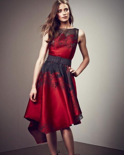 Coast Zala Jacquard Midi Dress Redblack Myonewedding