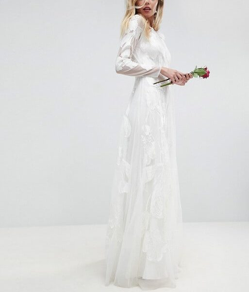 588de883934 ASOS BRIDAL Mesh Lace Maxi Dress with Floral Embroidery