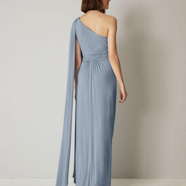 Phase Eight Winnie One Shoulder Maxi Bridesmaid Dress Dusty Blue