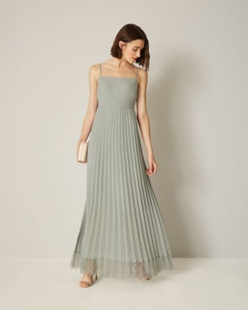 Phase Eight Sabrina Lace Pleated Bridesmaid Dress Duck Egg