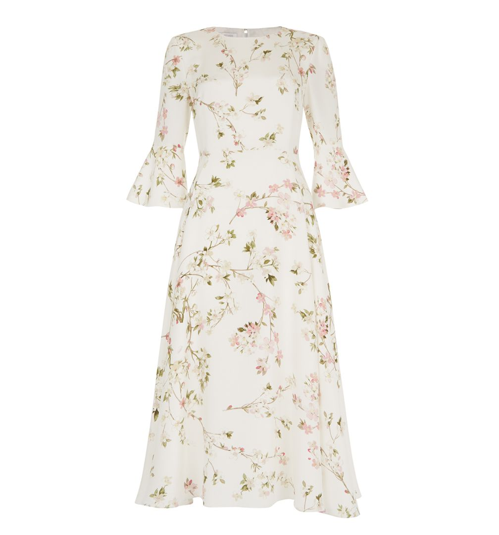 Hobbs Limited Edition White Ivory Multi Pink Agatha Short Long Sleeve Floral Dress
