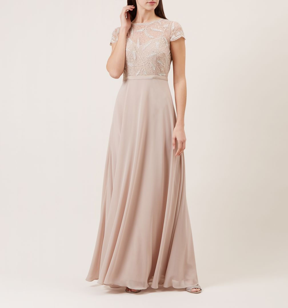 Hobbs Ollie Embroidered Bridesmaid Maxi Dress Sheer Pale Pink Blush