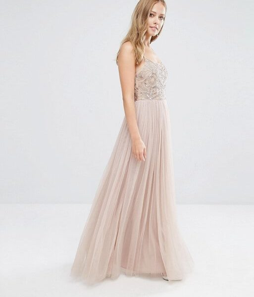 a4bd8f8ada1eb Maya Cami Strap Maxi Dress with Tulle Skirt and Embellishment, Blush/Pink