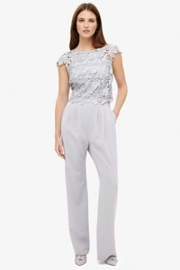 Phase Eight Nieve Lace Bodice Jumpsuit Silver Grey Smoke