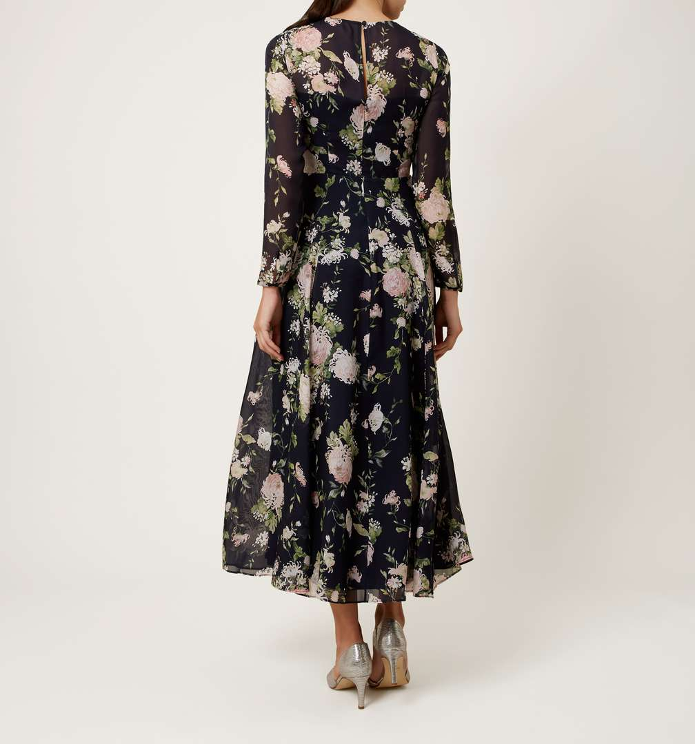 Hobbs rosabelle floral dress black multi for Black floral dress to a wedding