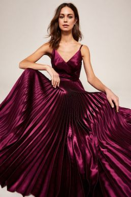 Ted Baker EFRONA Pleated Satin Maxi Dress Deep Purple