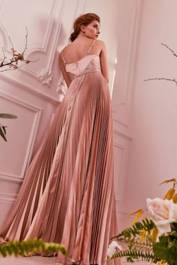 Ted Baker EFRONA Pleated Satin Maxi Dress Rose Gold