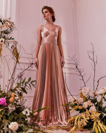 Ted Baker EFRONA Pleated Satin Maxi Dress Rose Gold
