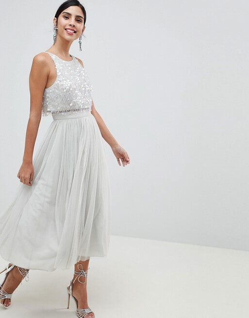 a80b3d39216 ASOS DESIGN Tulle Prom Midi Dress With Delicate Embellished Droplets ...