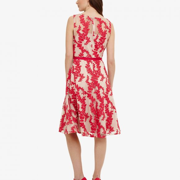 Phase Eight Adele Embroidered Dress Nude Hot Pink