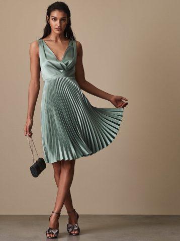knife pleat midi dress womens alicia aquamarine blue