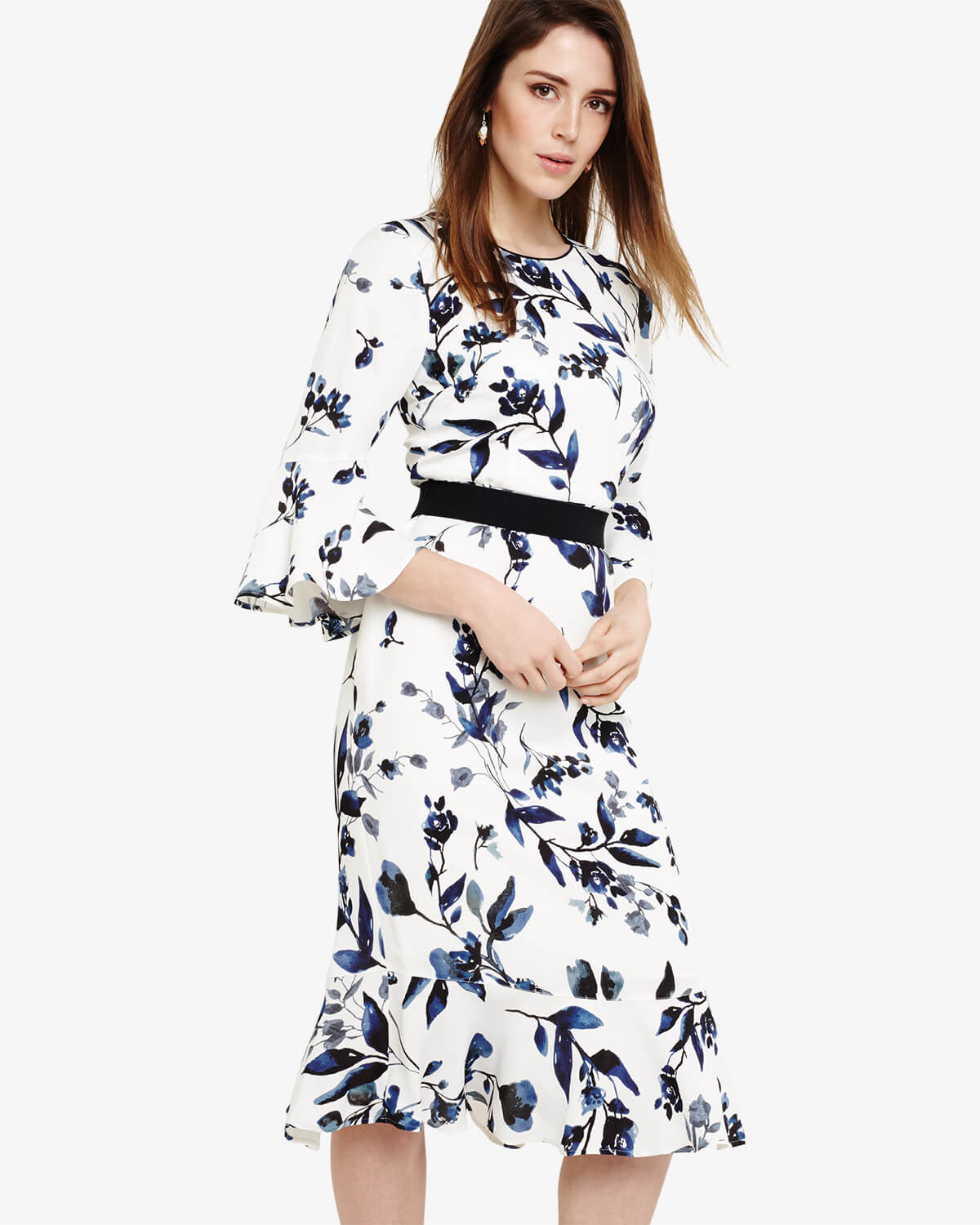 Phase Eight April Floral Twist Front Dress White Blue