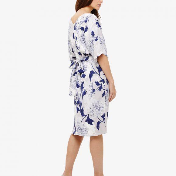April Floral Twist Front Dress Blue White