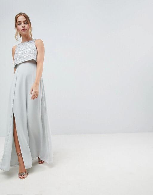 c9da97bb0f8 ASOS DESIGN Petite silver embellished crop top maxi dress ...