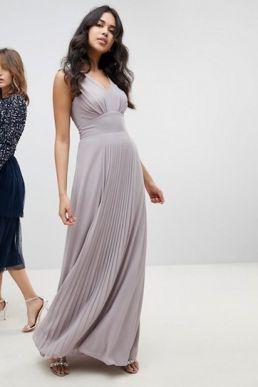 TFNC Sleeveless Maxi Bridesmaid Dress With Pleated Skirt Grey