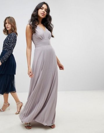 TFNC Sleeveless Maxi Bridesmaid Dress With Pleated Skirt Grey