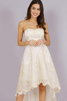 Chi Chi Danie Lace Bridesmaid High Low Dress Ivory Cream