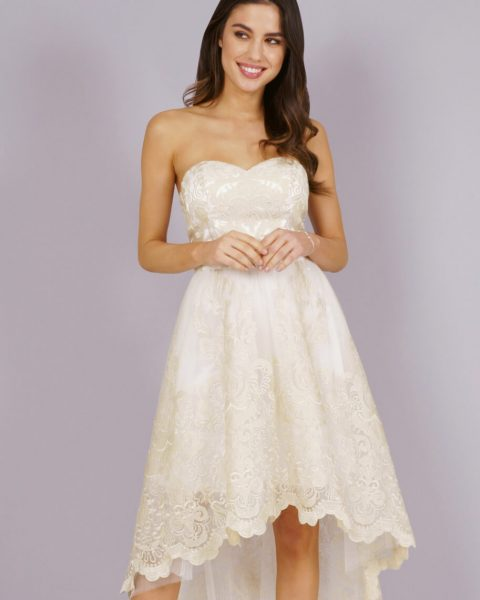 Chi Chi Danie Lace Bridesmaid High Low Dress Ivory Cream