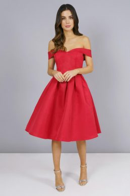 Chi Chi Jade Red Short Bardot Bridesmaid Dress