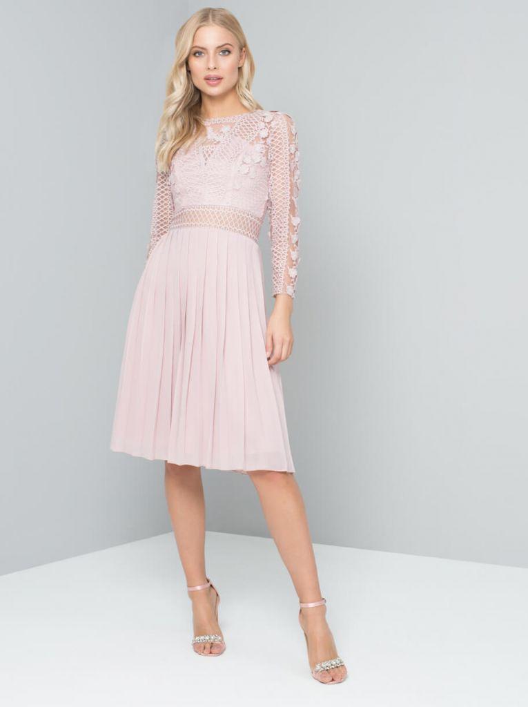 Chi chi koulla short bridesmaid dress blush pink for Short blush pink wedding dresses