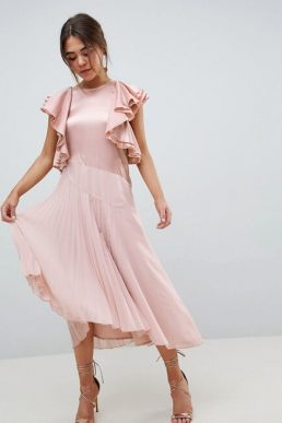 ASOS DESIGN Pleated Midi Dress With Ruffle Sleeve Pink