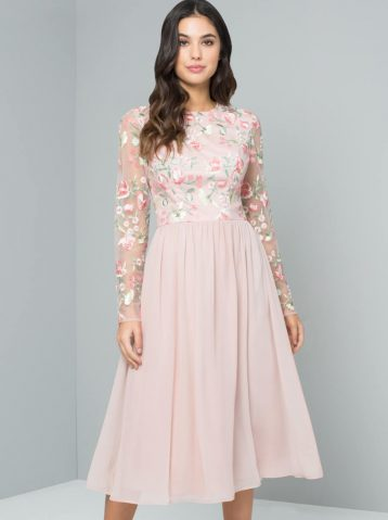 Chi Chi Bee Embroidered Bridesmaid Dress Pink Blush