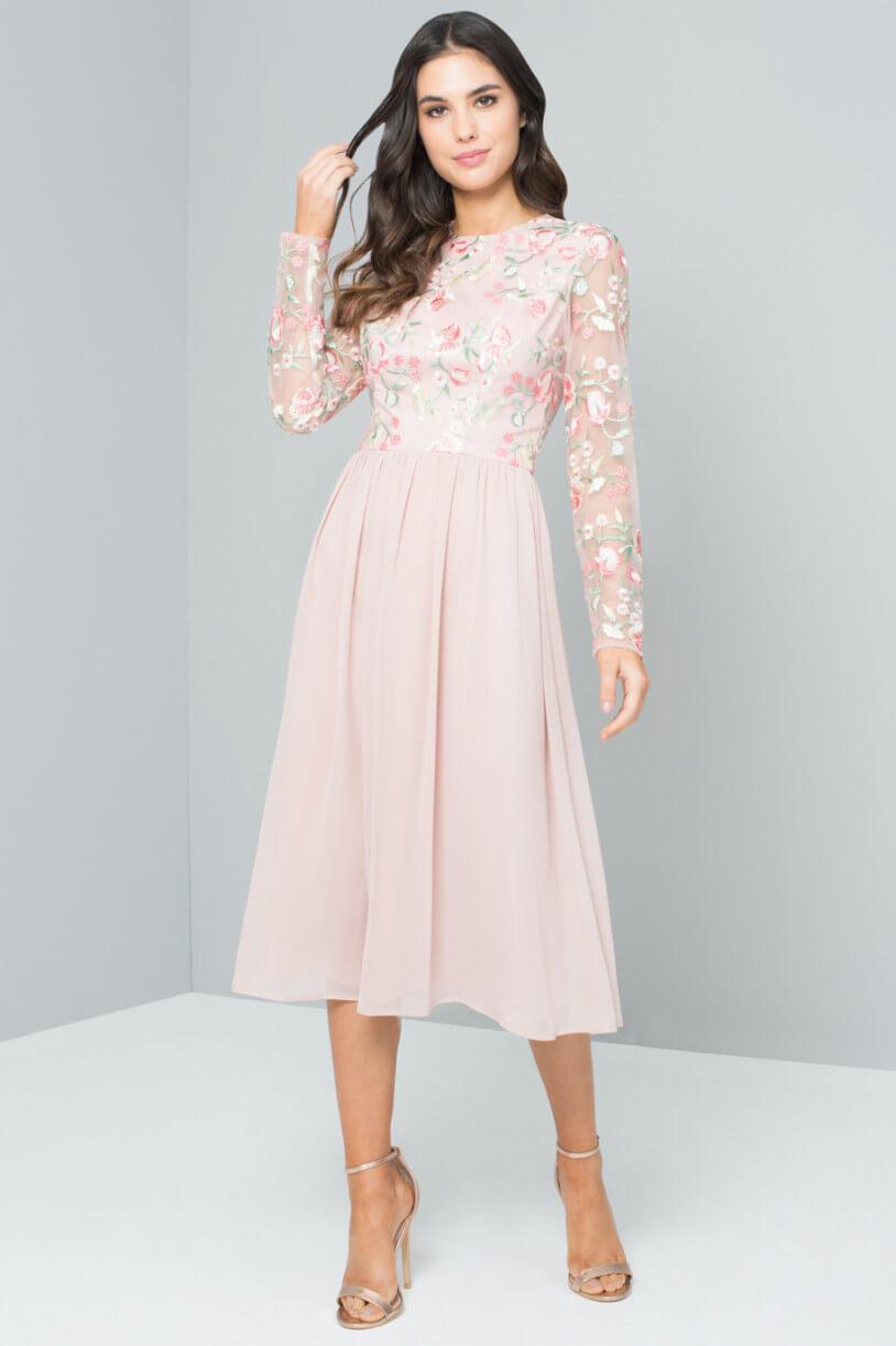 Chi Chi Bee Embroidered Bridesmaid Dress, Pink/Blush | myonewedding ...