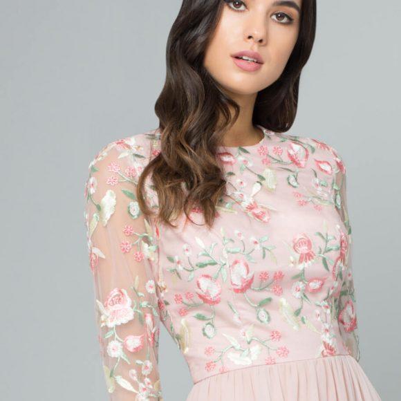 Chi Chi Bee Embroidered Bridesmaid Dress Pink Blush