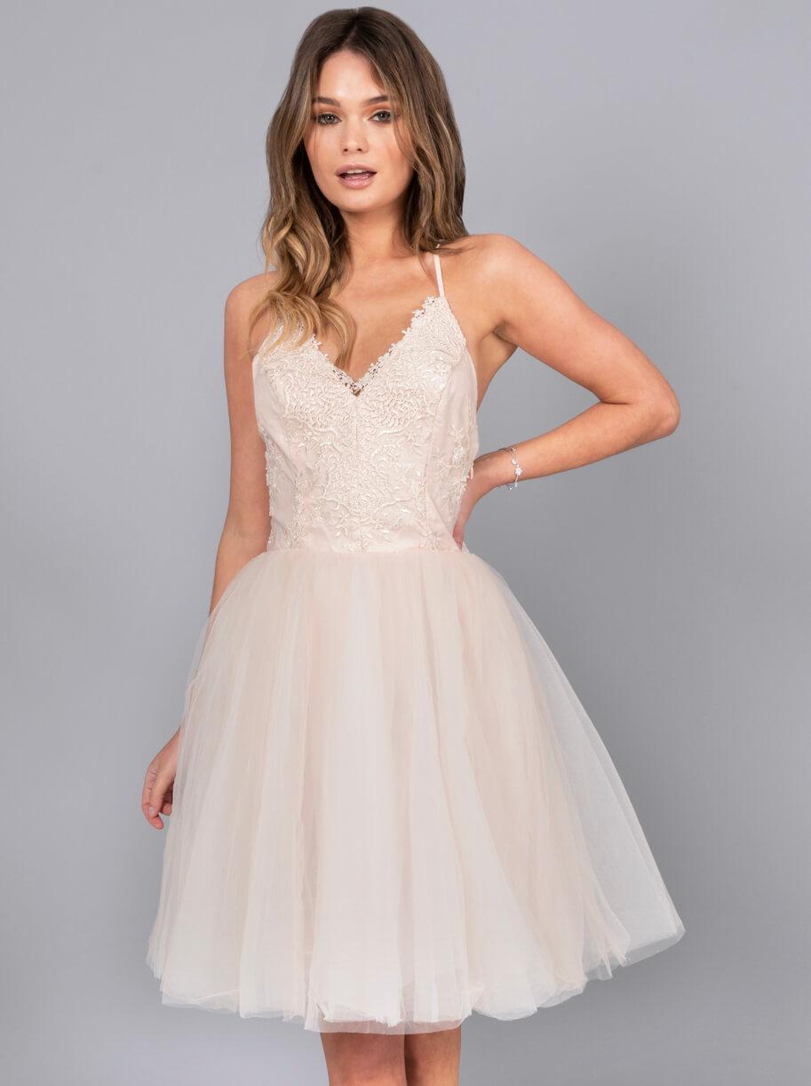 dcd0ee27e631 Chi Chi Petite Leyla Tulle Skirt Dress, Pink/Blush   myonewedding.co.uk