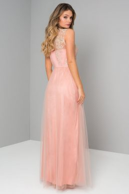 Chi Chi Pipper Lace Bridesmaid Dress Coral Pink
