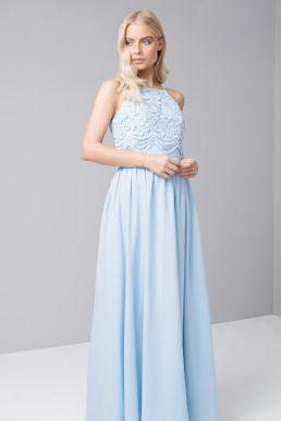 Chi Chi Ryshia Pale Blue Lace Bridesmaid Dress