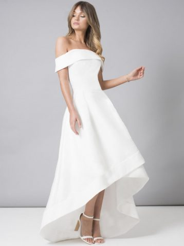 Chi Chi Meryl Bardot High Low Dress White