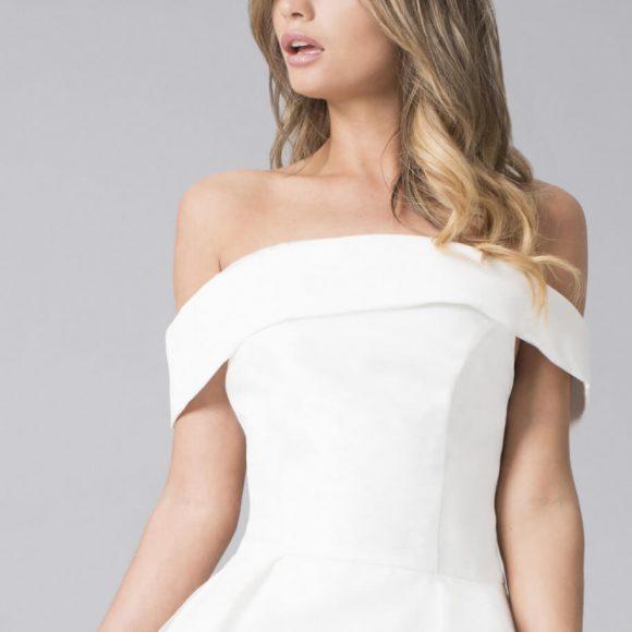 Chi Chi Meryl Bardot High Low Dress White