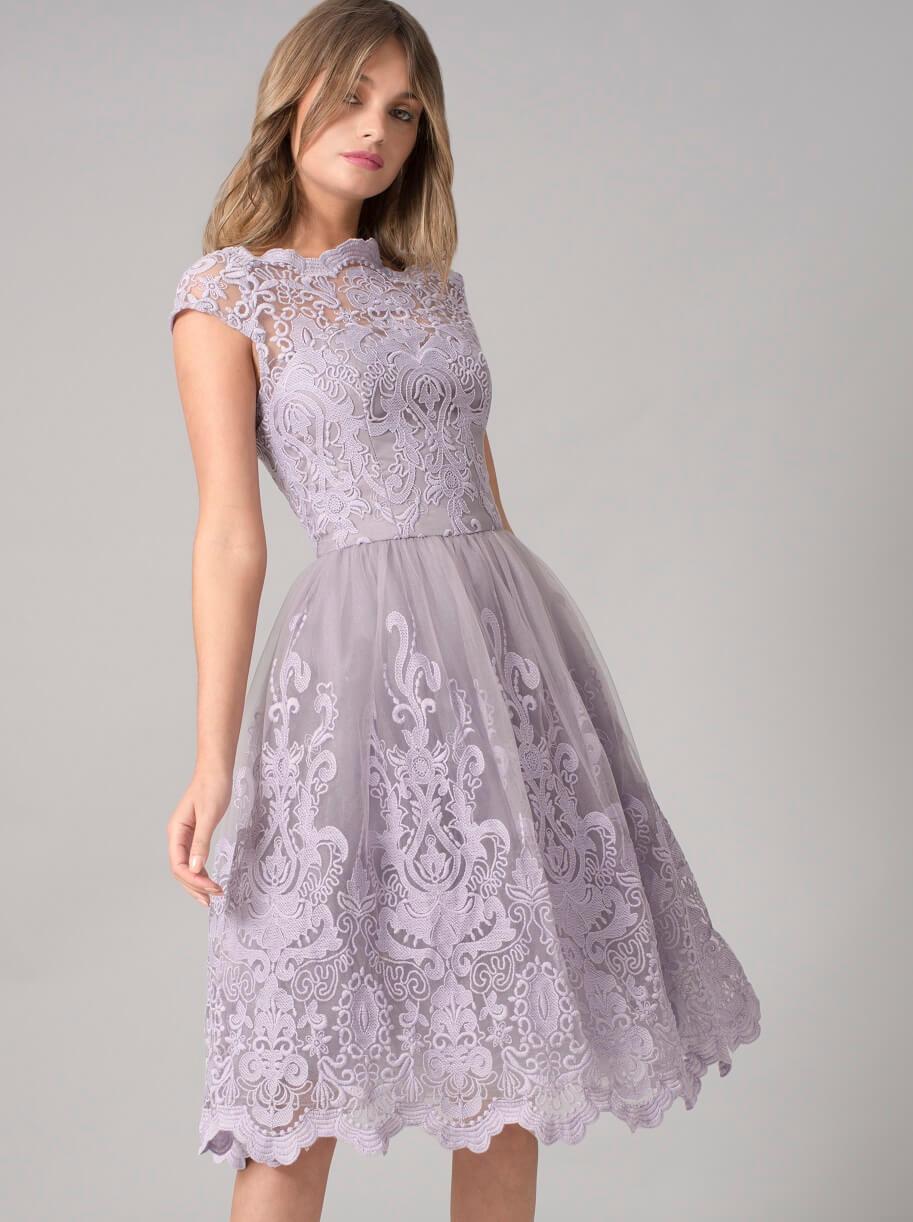 Chi Chi Nia Lace Bridesmaid Dress, Lilac/Purple   myonewedding.co.uk