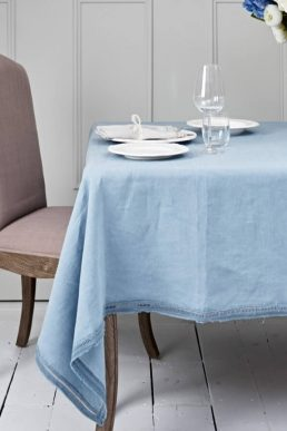 Linen Tablecloth Aqua Lace