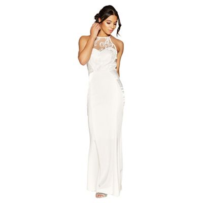 cc7a5df246754 ... Quiz Penelope White Embellished Crepe High Neck Maxi Dress ...