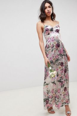 ASOS DESIGN Bridesmaid cami maxi dress with lace insert in pretty floral print Pink Purple