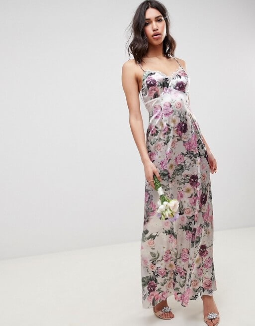 f25304d4b642 ASOS DESIGN Bridesmaid cami maxi dress with lace insert in pretty floral  print Pink Purple